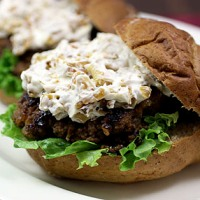 Grilled Burgers with Onions and Coleslaw